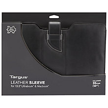 "Buy Targus 13"" Leather Ultrabook Sleeve, Black Online at johnlewis.com"