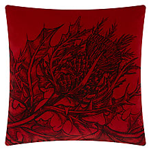 Buy Timorous Beasties for John Lewis Thistle Velvet Cushion, Red Online at johnlewis.com