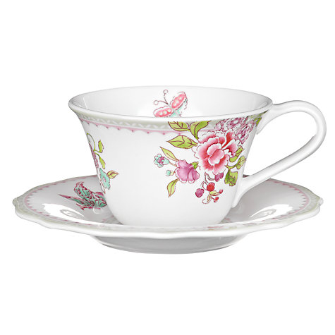 Buy Sanderson for Portmeirion Porcelain Garden Teacup And Saucer, 0.28L, White Online at johnlewis.com