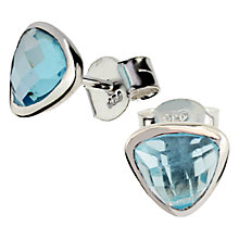 Buy Amrapali for Dinny Hall Jaipur Blue Topaz Triangular Stud Earrings, Pale Blue Online at johnlewis.com