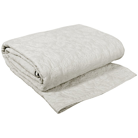 Buy John Lewis Elise Embroidered Cotton Quilt, Mist Online at johnlewis.com