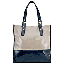 Buy John Lewis Patent Buckle Tote, Taupe/Navy Online at johnlewis.com