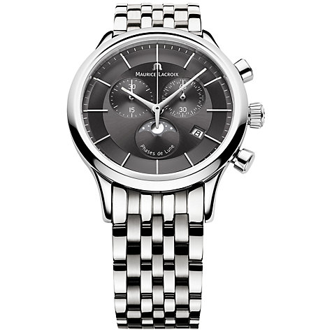 Buy Maurice Lacroix LC1148-SS002-331 Men's Les Classique Chronograph Stainless Steel Bracelet Watch, Silver / Black Online at johnlewis.com