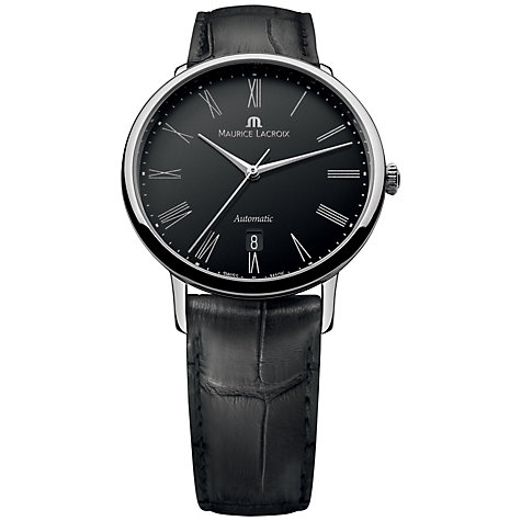 Buy Maurice Lacroix LC6067-SS001-310 Men's Les Classiques Black Dial Leather Strap Watch, Black Online at johnlewis.com