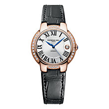 Buy Raymond Weil 2935-PCS-00659 Women's Jasmine Diamond Set Bezel Leather Strap Watch, Black Online at johnlewis.com