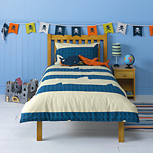Buy little home at John Lewis Walk The Plank Stripe Single Duvet Cover and Pillowcase Set, Blue/White Online at johnlewis.com