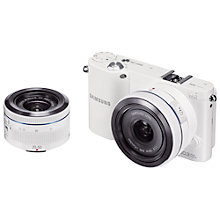"Buy Samsung NX1000 Compact System Camera with 16mm & 20-50mm Lens, HD 1080p, 20.3MP, Wi-Fi, 3"" Screen Online at johnlewis.com"