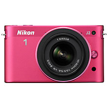"Buy Nikon 1 J2 Compact System Camera with 10-30mm Lens, HD 1080p, 10.1MP, 3"" LCD Screen, Pink Online at johnlewis.com"