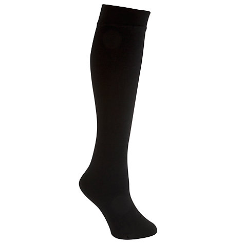Buy John Lewis Fleece Lined Knee Tights, Black Online at johnlewis.com