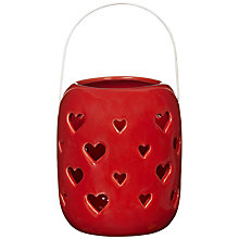 Buy John Lewis Heart Tealight Lantern, Red Online at johnlewis.com
