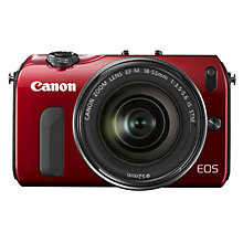 "Buy Canon EOS M Compact System Camera with 18-55mm EF-M Lens, HD 1080p, 18MP, 3"" Touch Screen, Red with 16GB + 8GB Memory Card Online at johnlewis.com"
