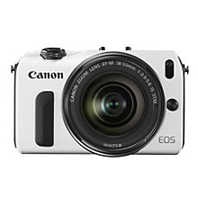"Buy Canon EOS M Compact System Camera with 18-55mm EF-M Lens, HD 1080p, 18MP, 3"" Touch Screen, White with 16GB + 8GB Memory Card Online at johnlewis.com"