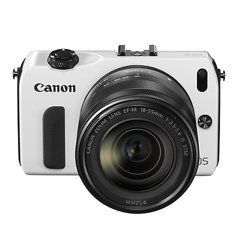 "Buy Canon EOS M Compact System Camera with 18-55mm EF-M Lens, HD 1080p, 18MP, 3"" Touch Screen, White Online at johnlewis.com"