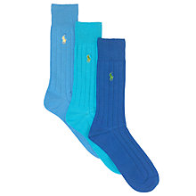 Buy Polo Ralph Lauren Crew Cotton Socks, Pack of 3, Blue Online at johnlewis.com
