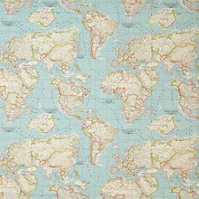 Buy John Lewis World Map Fabric, Blue Online at johnlewis.com