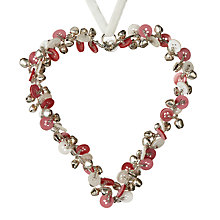 Buy Parlane Bell and Button Hanging Heart, Medium, Pink Online at johnlewis.com