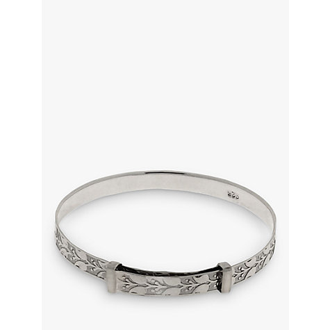 Buy Nina Breddal Sterling Silver Engraved Leaf Pattern Baby Bangle Online at johnlewis.com