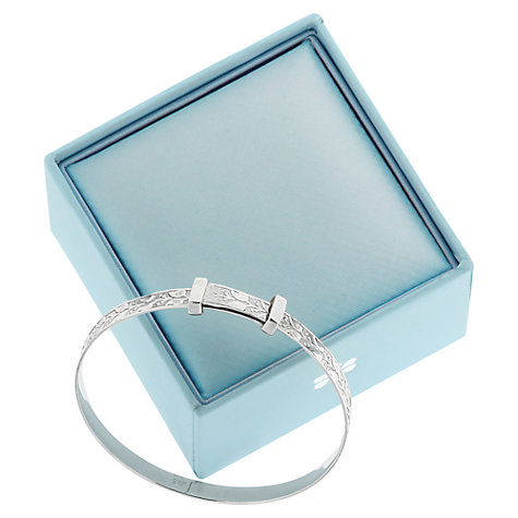 Buy Nina B Sterling Silver Engraved Leaf Pattern Baby Bangle Online at johnlewis.com