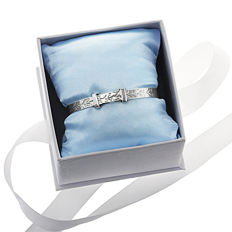 Buy Nina B Sterling Silver Engraved Leaf Pattern Baby Bangle, Silver Online at johnlewis.com