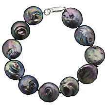 Buy A B Davis Cultured River Pearl Bracelet, Black Online at johnlewis.com