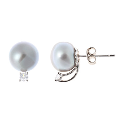 Buy A B Davis Sterling Silver Pearl and Cubic Zirconia Stud Earrings Online at johnlewis.com