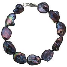 Buy A B Davis Keshi River Pearl Bracelet, Black Online at johnlewis.com