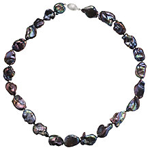 Buy A B Davis Keshi River Pearl Necklace, Black Online at johnlewis.com