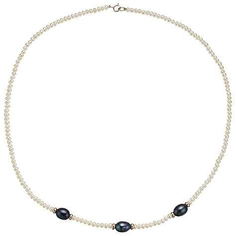 Buy A B Davis Triple Oval Pearl 9ct Gold Necklace Online at johnlewis.com