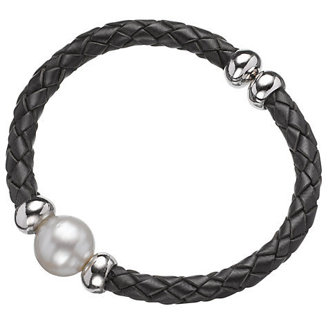 Buy A B Davis Leather and Sterling Silver with Pearl Cuff Bracelet Online at johnlewis.com