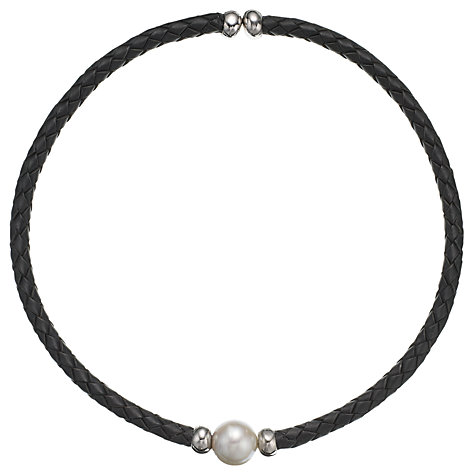 Buy A B Davis Leather and Sterling Silver with Pearl Collar Necklace, White Online at johnlewis.com