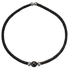 Buy A B Davis Leather and Sterling Silver with Pearl Collar Necklace, Black Online at johnlewis.com