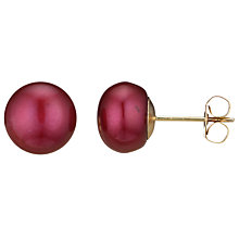 Buy A B Davis Pearl 9ct Yellow Gold Stud Earrings, Red Online at johnlewis.com