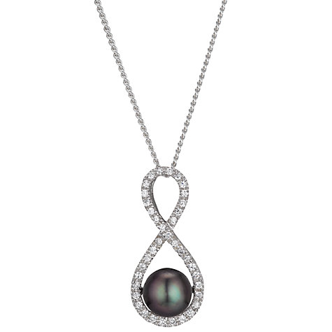 Buy A B Davis Figure of 8 Freshwater Pearl and Cubic Zirconia Pendant, Silver Online at johnlewis.com