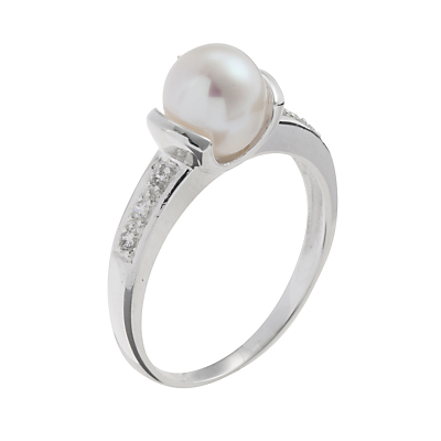 A B Davis Silver Single White Pearl Cubic Zirconia Shoulder Set Ring, N