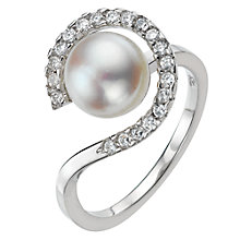 Buy A B Davis Pearl Ring Cubic Zirconia Three Quarters Surround, Silver Online at johnlewis.com