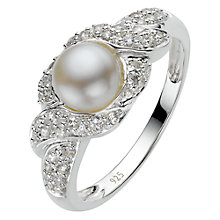 Buy A B Davis Sterling Silver White Pearl Cubic Zirconia Surround Ring, N Online at johnlewis.com