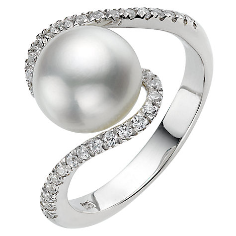 Buy A B Davies Pearl and Cubic Zirconia Twist Ring Online at johnlewis.com