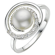 Buy A B Davis Sterling Silver White Pearl Cubic Zirconia Swirl Ring, N Online at johnlewis.com