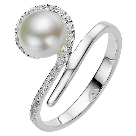 Buy A B Davis Sterling Silver White Pearl Cubic Zirconia Tiara Ring, N Online at johnlewis.com