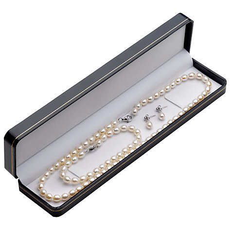 Buy A B Davis Freshwater Oval Pearl Necklace Bracelet Earrings Set Online at johnlewis.com