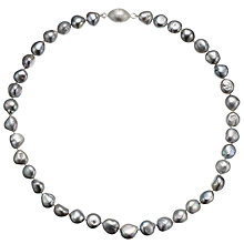 Buy A B Davis Baroque Pearl Magnetic Clasp Necklace, Grey Online at johnlewis.com