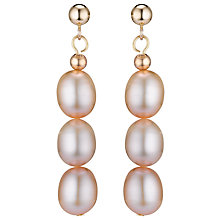 Buy A B Davis 9ct Yellow Gold Triple Pearl Drop Earrings Online at johnlewis.com