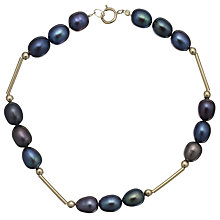 Buy A B Davis Triple Pearl 9ct Gold  Spaced Bracelet Online at johnlewis.com
