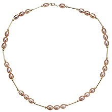 Buy A B Davis Triple Pearl Gold Bar Necklace Online at johnlewis.com