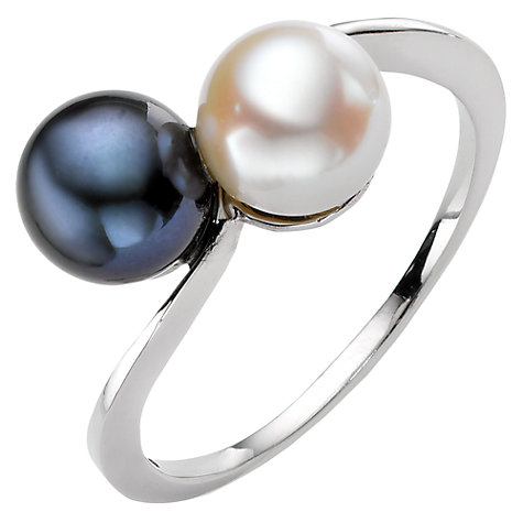 Buy A B Davis 9ct White Gold Pearl Cross Over Ring Online at johnlewis.com