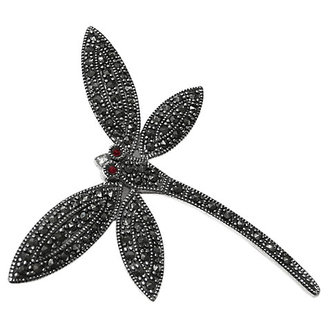 Buy Goldmajor Marcasite And Garnet Dragonfly Brooch, Silver Online at johnlewis.com