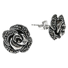 Buy Goldmajor Marcasite Rose Stud Earrings, Silver Online at johnlewis.com