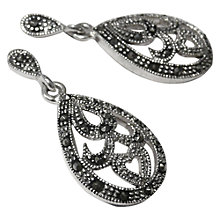 Buy Goldmajor Marcasite Teardrop Drop Earrings, Silver Online at johnlewis.com