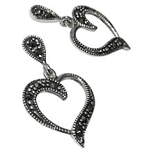 Buy Goldmajor Marcasite Heart Drop Earrings, Silver Online at johnlewis.com