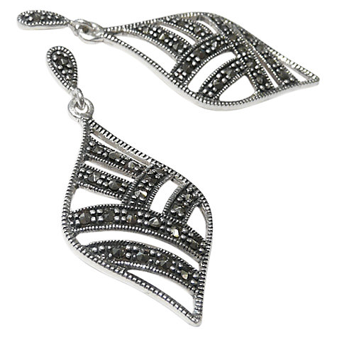 Buy Goldmajor Marcasite Leaf Drop Earrings, Silver Online at johnlewis.com